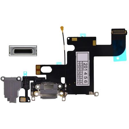 Шлейф / плата Apple iPhone 6 на системный разъем (нижняя плата) / серый