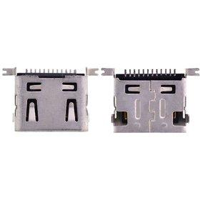 Разъем micro USB 12pin 4 ноги перед в край в плату + 2 за корпус на плату ровное контакты вниз (две застежки) - U032