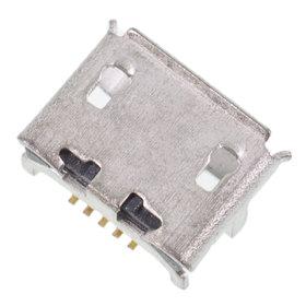 Разъем micro USB 5pin 4 ноги перед в край в плату + 2 внутри в плату парал с краями контакты вниз (1 застежка) - U047