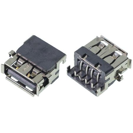 Разъем USB 2.0 / ниже середины / 14 x10mm / прямой / без юбки / Quanta LX89