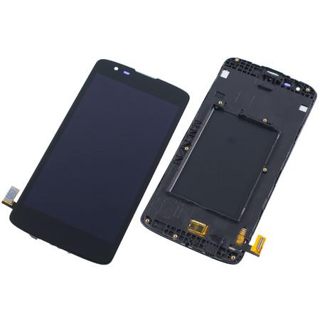 Модуль (дисплей + тачскрин) черный с рамкой для LG K8 LTE K350E