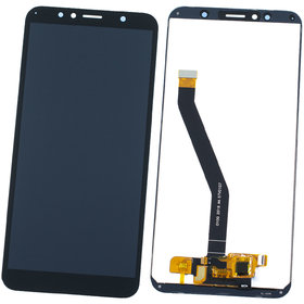 Модуль (дисплей + тачскрин) для Huawei Y6 Prime 2018 (ATU-L31) черный (лого Huawei)
