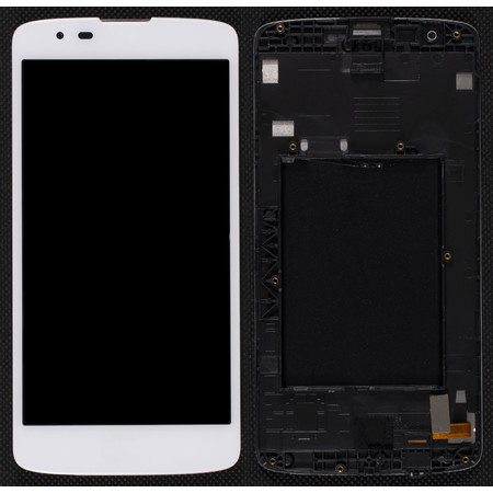 Модуль (дисплей + тачскрин) белый с рамкой для LG K8 LTE K350E