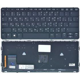 Клавиатура черная с черной рамкой с подсветкой HP G2 EliteBook 725