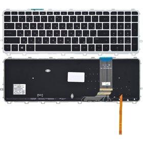 Клавиатура черная с серебристой рамкой с подсветкой HP ENVY 15-j175sr