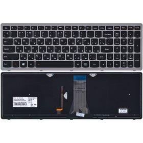 25-211085 Клавиатура черная с серой рамкой с подсветкой