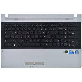 Клавиатура черная (Топкейс серебристый) Samsung RV511 (NP-RV511-S03)
