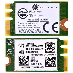 Модуль связи Mini PCI-E (HMC) Wi-Fi 802.11b/g/n (Bluetooth 4.0) - QCNFA335 (FCC ID:PPD-QCNFA335) Lenovo B50-30 (B5030)