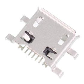 Разъем micro USB 7pin 4 ноги перед за корпус в плату + 2 за корпус в плату с краями контакты вниз (две застежки) - U005
